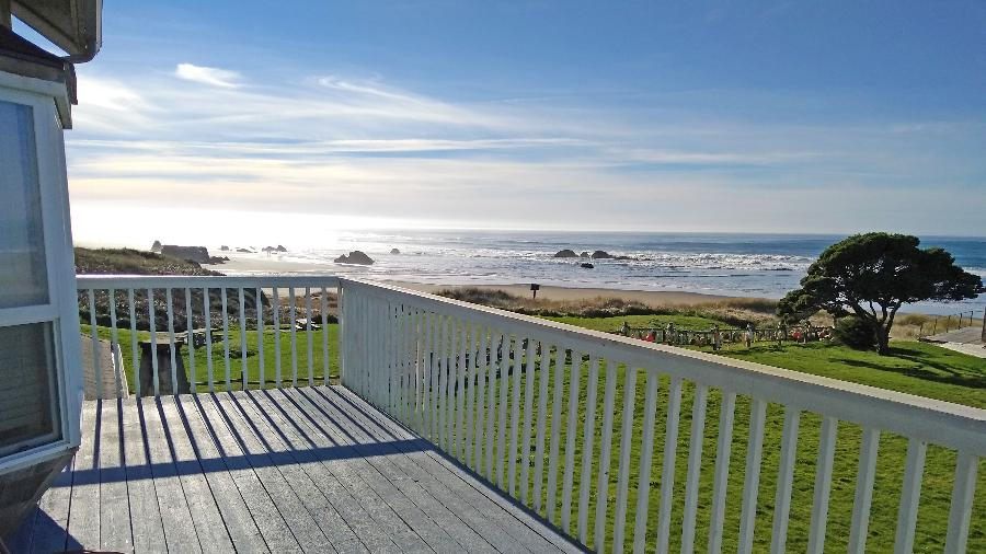 Stunning 2nd-floor balcony view with a great state park on the left