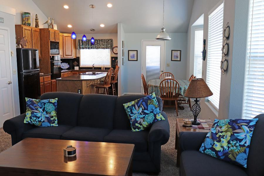 The wonderful upstairs living room/dining room/kitchen